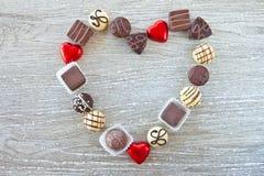 Różnorodne czekolady w kształcie Fotografia Stock