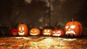 Różnorodne Halloween banie w spadku lesie przy półmrokiem fotografia royalty free