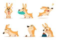 Różnorodne ilustracje śmieszny mały pies w akcj pozach ilustracja wektor