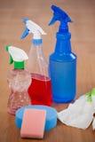 Różnorodne kiści butelki, gąbka i rękawiczka na drewnianej podłoga, zdjęcie stock