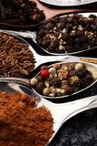 Różnorodne pikantność i łyżki na zmroku stole Zdjęcie Stock