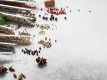 Różnorodne pikantność w szklanych próbnych tubkach i świeżych ziele na szarym tle Set różnorodny pikantność i ziele mieszkanie ni zdjęcie royalty free