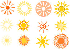 Różnorodne symplicystyczne słońce ilustracje Zdjęcie Stock