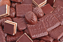 różnorodne tło czekolady Zdjęcia Stock