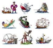 różnorodnego 3 statku ilustracja wektor
