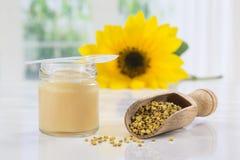 Różnorodnej pszczoły królewska galareta i honeycomb umieszczający na białym stole zdjęcie royalty free