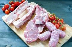Różnorodni świezi mięsa kurczak i wieprzowina Obrazy Royalty Free