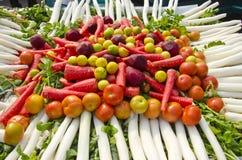 Różnorodni świezi warzywa w Agra rynku, India Obrazy Royalty Free