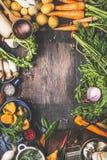 Różnorodni żniw warzywa od ogródu i lasu pieczarek Jarscy składniki dla gotować zdjęcia royalty free