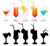 Różnorodni alkoholiczni koktajle Zdjęcie Royalty Free