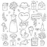 Różnorodni dni ślubu symbole Wektorowa ręka rysować ilustracje ślub ilustracja wektor