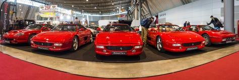 Różnorodni Ferrari samochody stoi z rzędu Zdjęcia Royalty Free