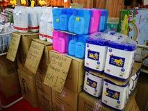 Różnorodni gatunki dziecko produkty na pokazie podczas gdy mieć promocje na wybranych rzeczach przy CS supermarketem, Bangi Obraz Royalty Free