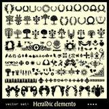 Różnorodni heraldyczni elementy ilustracja wektor