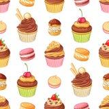 Różnorodni jaskrawi kolorowi czekoladowi desery Bezszwowy wektoru wzór na białym tle Zdjęcia Stock