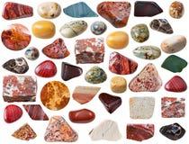 Różnorodni jaspisowi naturalni kopalni klejnotów kamienie, skała i Zdjęcie Royalty Free