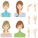 Różnorodni kobiety pozy fryzury uśmiechy Zdjęcie Stock