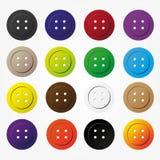Różnorodni kolorów guziki dla ubraniowych ikon ustawiać Fotografia Royalty Free