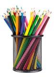 Różnorodni kolorów ołówki w czarnym zbiorniku Zdjęcie Stock