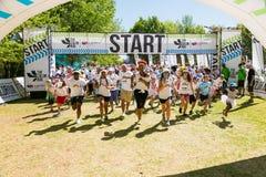 Różnorodni ludzie biega w kolorze Biegają maraton w Johannesburg Fotografia Stock