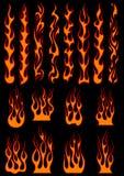 Różnorodni ogniści płomienie w plemiennym stylu ilustracja wektor