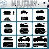 Różnorodni pojazdy wojskowi łatwe tło ikony zamieniają przejrzystego cienia wektor Zdjęcie Stock