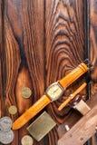 Różnorodni przedmioty na stole z brown drewnianym tłem obraz royalty free
