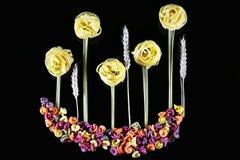 Różnorodni rodzaje barwiony surowy Włoski makaron, banatka wywodzą się na czarnym tle, odgórny widok, w postaci kwiatów poly i bu Obrazy Royalty Free