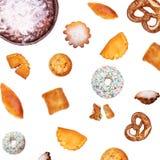Różnorodni rodzaje chleb, ciasta i cukierki na białym tle, obraz royalty free