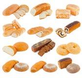 Różnorodni rodzaje chleb na białym tle Zdjęcie Stock