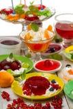 Różnorodni rodzaje desery robić ââof galaretowacieć Zdjęcia Stock