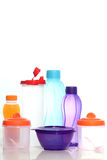 Różnorodni rodzaje i formy jedzenie i napój, na białym tle Zdjęcia Royalty Free