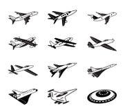 Różnorodni samoloty w locie Fotografia Royalty Free