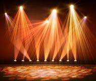 Różnorodni scen światła w zmroku Światło reflektorów na scenie Fotografia Stock