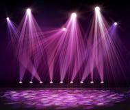 Różnorodni scen światła w zmroku Światło reflektorów na scenie Zdjęcia Stock