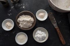 Różnorodni składniki dla robić glutenowi bezpłatnej mąki mieszance fotografia royalty free
