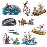 Różnorodni statki, łódź i więcej, royalty ilustracja