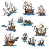 Różnorodni statki royalty ilustracja