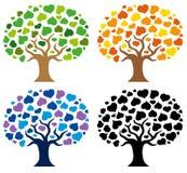 różnorodni sylwetek drzewa Zdjęcia Royalty Free