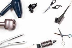 Różnorodni włosiani tytułowań narzędzia na białym tle Zdjęcia Stock