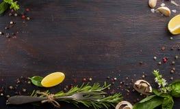 Różnorodni warzywa i ziele na ciemnym drewno stole obraz royalty free