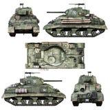Różnorodni widoki rocznik Amerykańska wojna światowa 2 sprzymierzali opancerzonego środek walki zbiornika na odosobnionym białym  ilustracja wektor