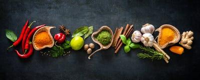 Różnorodni ziele i pikantność zdjęcia stock