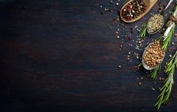 Różnorodni ziele i pikantność na ciemnym drewno stole Fotografia Royalty Free