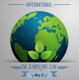 Różnorodność biologiczna dnia międzynarodowy tło z kulą ziemską i liśćmi ilustracji