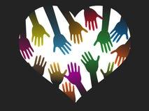 Różnorodność koloru ręki serce ilustracja wektor