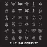 Różnorodność kulturalna ikon editable kreskowy wektorowy ustawiający na czarnym tle Różnorodność kulturalna konturu białe ilustra royalty ilustracja