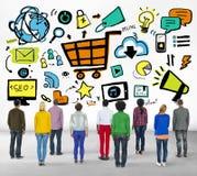 Różnorodność marketingu drużyny dążenia Onlinego pojęcia Przypadkowi ludzie zdjęcia royalty free