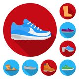 Różnorodność but płaskie ikony w ustalonej kolekci dla projekta Inicjuje, sneakers symbolu zapasu sieci wektorowa ilustracja royalty ilustracja