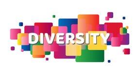 Różnorodność pisze list sztandar na kolorowych kwadratach Projektujący dla sieci, mobilnych apps i druków, ilustracji